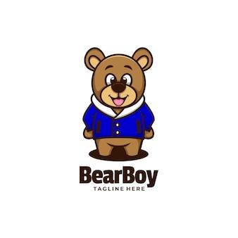 Wektor logo ilustracja niedźwiedź chłopiec styl prosty maskotka.