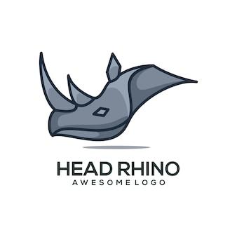 Wektor logo ilustracja nosorożec prosty styl maskotki