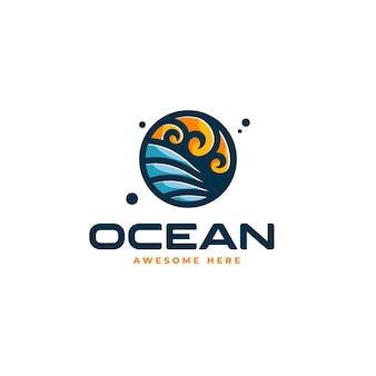 Wektor logo ilustracja ocean styl prosty maskotka