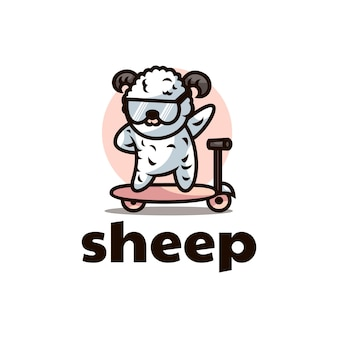 Wektor logo ilustracja owca maskotka stylu cartoon