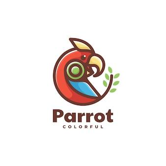 Wektor logo ilustracja papuga styl prosty maskotka