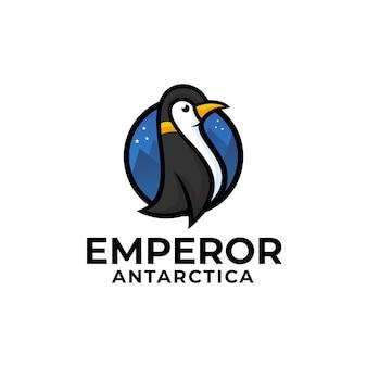 Wektor logo ilustracja pingwin styl prosty maskotka