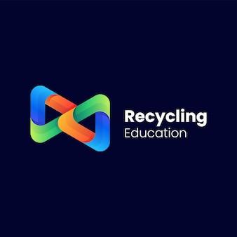 Wektor logo ilustracja recyklingu kolorowy gradient stylu.