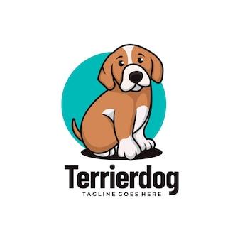 Wektor logo ilustracja terrier pies maskotka stylu cartoon.