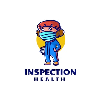 Wektor logo ilustracja zdrowy inspektor maskotka stylu cartoon