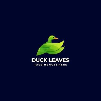 Wektor logo kaczka i liści kolorowy styl gradientu