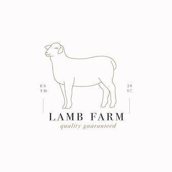 Wektor logo liniowy szablon projektu lub godło - baranek gospodarstwa. streszczenie symbol sklepu mięsnego lub rzeźni.