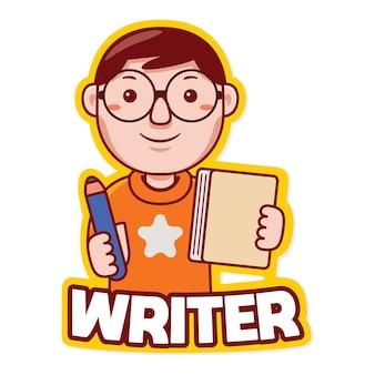 Wektor logo maskotka zawodu budowniczego w stylu kreskówki