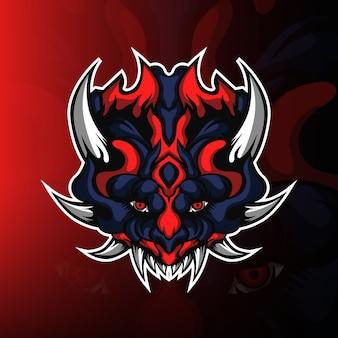 Wektor logo maskotki do gier głowy potwora
