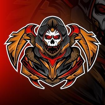 Wektor logo maskotki do gier z dzikim oddziałem czaszki