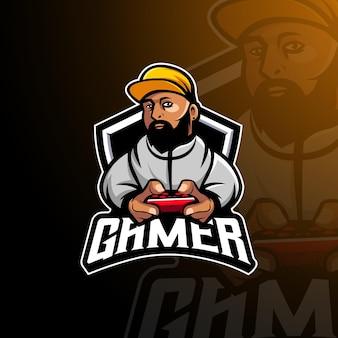 Wektor logo maskotki gracza z nowoczesnym stylem ilustracyjnym dla godła odznaki i koszulki
