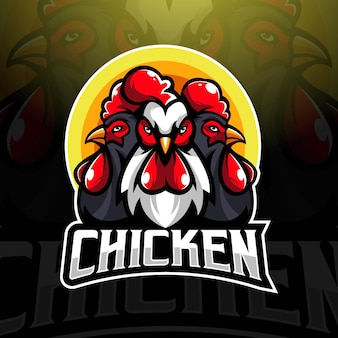 Wektor logo maskotki kurczaka z nowoczesnym stylem ilustracyjnym do nadruku znaczka, godła i koszulki. trzy koguty dla drużyny e-sport