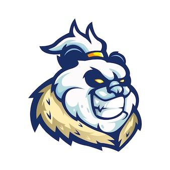 Wektor logo maskotki pandy z nowoczesnym stylem ilustracji do odznaki