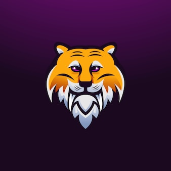 Wektor logo maskotki tygrysa z nowoczesnym stylem ilustracji dla odznaki, godła, nadruku na koszulce i dowolnego projektu