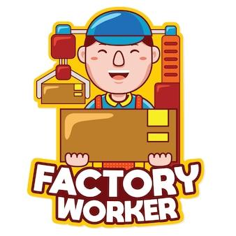 Wektor logo maskotki zawodu pracownika fabryki w stylu kreskówki