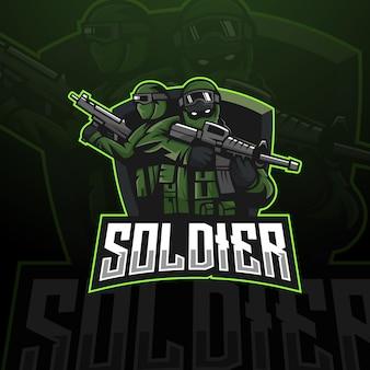 Wektor logo maskotki żołnierza z nowoczesnym stylem ilustracyjnym dla godła odznaki i koszulki
