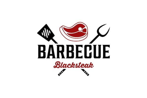 Wektor logo mięsa grilla czarny stek grillowy
