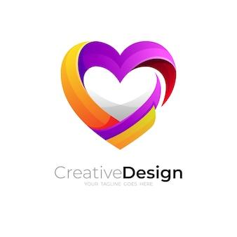 Wektor logo miłości, szablon projektu abstrakcyjnej opieki nad miłością