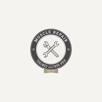Wektor logo odznaki naprawy garażu