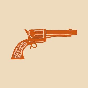 Wektor logo pistoletu w motywie pomarańczowym i kowbojskim