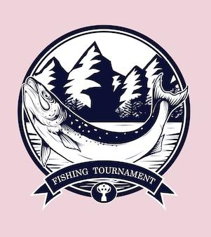 Wektor logo połowów przez rysunek strony