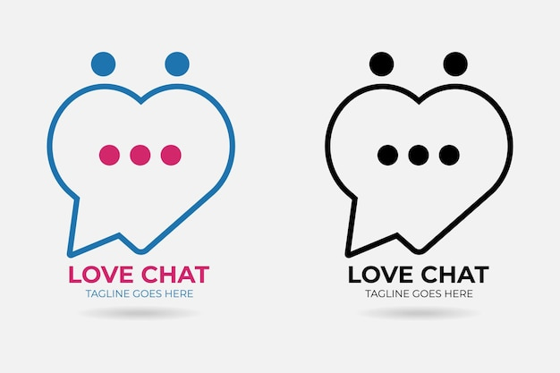 Wektor logo premium na czacie miłości