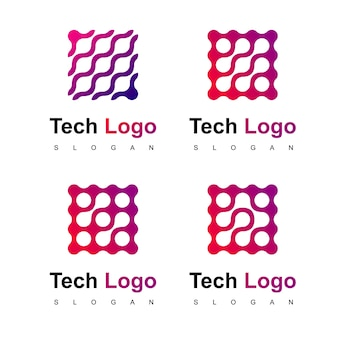 Wektor logo projekt technologii