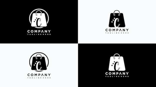 Wektor logo sklepu litera c premium wektor