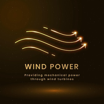 Wektor logo środowiska energii wiatrowej z tekstem