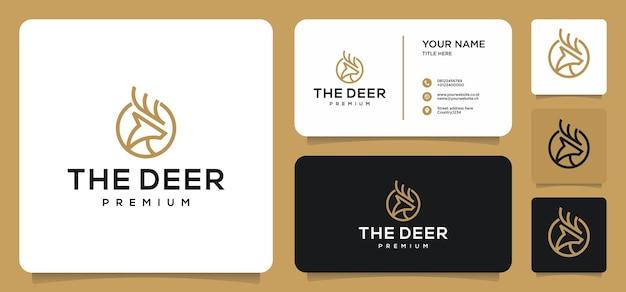Wektor logo sztuki linii jelenia z bezpłatną wizytówką