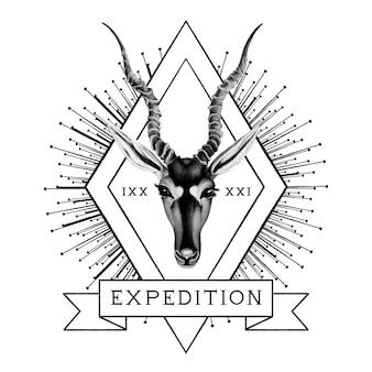 Wektor logo wyprawy podróżniczej