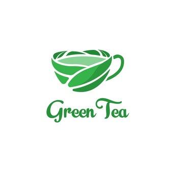 Wektor logo zielonej herbaty