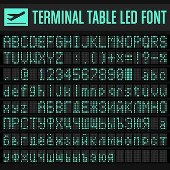 Wektor lotnisko terminal table set zestaw czcionek