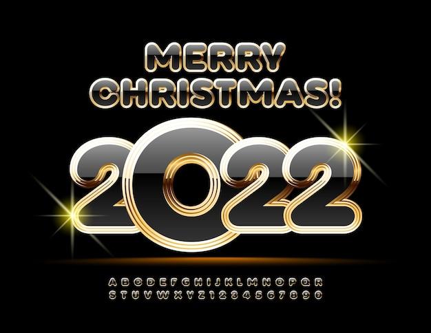 Wektor luksusowe kartki z życzeniami wesołych świąt 2022 złoty i czarny bogaty zestaw czcionek premium alphabet