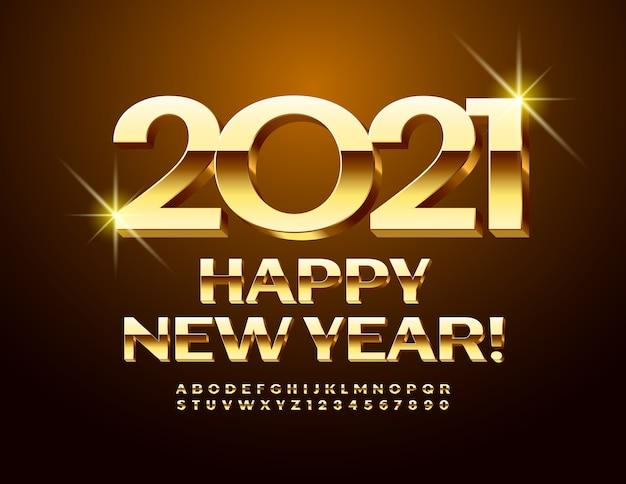 Wektor luksusowy kartkę z życzeniami szczęśliwego nowego roku 2021! złota czcionka 3d. błyszczące wielkie litery alfabetu i cyfry