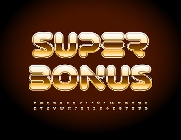 Wektor luksusowy promo super bonus błyszczący elegancki zestaw złota czcionki alfabetu zestaw liter i cyfr