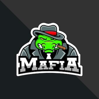 Wektor mafia krokodyl maskotka dla logo członka drużyny