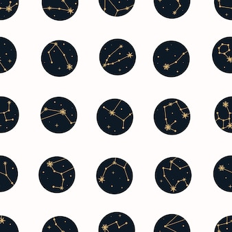 Wektor magiczny wzór z konstelacjami i gwiazdami.