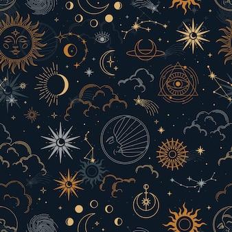 Wektor magiczny wzór z konstelacjami, słońce, księżyc, magiczne oczy, chmury i gwiazdy.