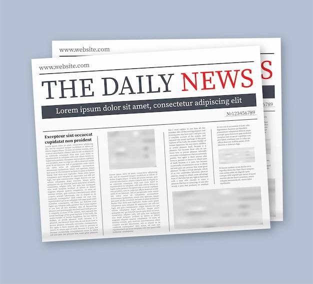 Wektor makieta pusta gazeta codzienna. w pełni edytowalna cała gazeta w masce przycinającej. grafika wektorowa ilustracji,