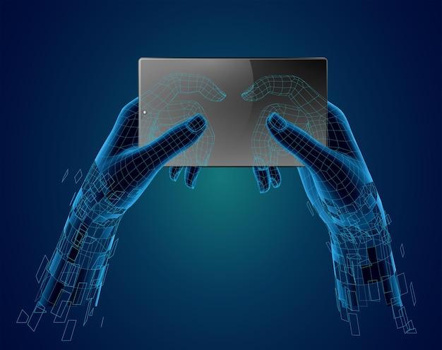 Wektor makieta z miejscem na tekst, ręce trzymać telefon widok z góry. koncepcja wirtualnej rzeczywistości