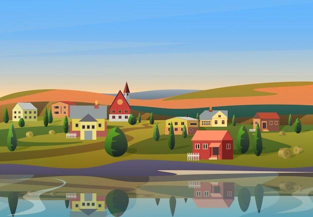 Wektor małe miasteczko krajobraz z domami na brzegu rzeki ze wzgórzami pod błękitne niebo rano wschód słońca na tle.