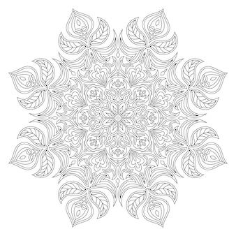 Wektor mandali. orientalny element dekoracyjny. islam, arabski, indyjski, turecki, pakistan, chiński, otomana. etniczne elementy projektu. ręcznie rysowane mandali. monochromatyczna konturowa mandala do kolorowania.