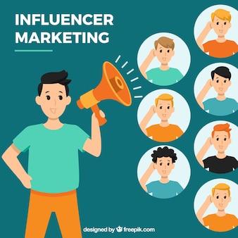 Wektor marketingu influencjalnego z ludźmi słuchającymi