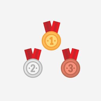Wektor medal zwycięzca w płaska konstrukcja