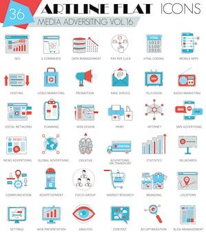 Wektor media reklamowe ultranowoczesne konspektowe ikony linii płaskiej dla stron internetowych i aplikacji.