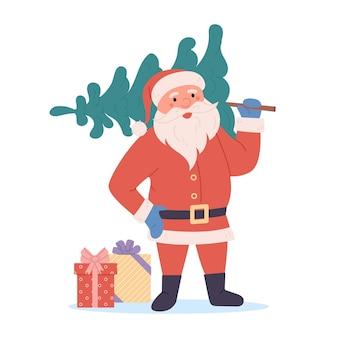 Wektor merry christmas card z mikołajem trzymającym drzewo i prezenty symbol bożego narodzenia