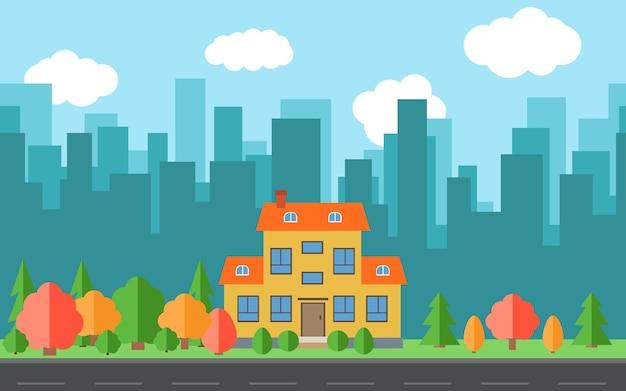 Wektor miasto z kreskówek domów i budynków. przestrzeń miasta z drogi na koncepcja tło płaski. letni krajobraz miejski. widok ulicy z pejzażem miejskim na tle