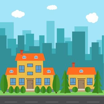 Wektor miasto z kreskówek domów i budynków. przestrzeń miasta z drogi na koncepcji tła płaski syle. letni krajobraz miejski. widok ulicy z pejzażem miejskim na tle