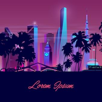 Wektor miasto z palmami, wieża. szablon tła